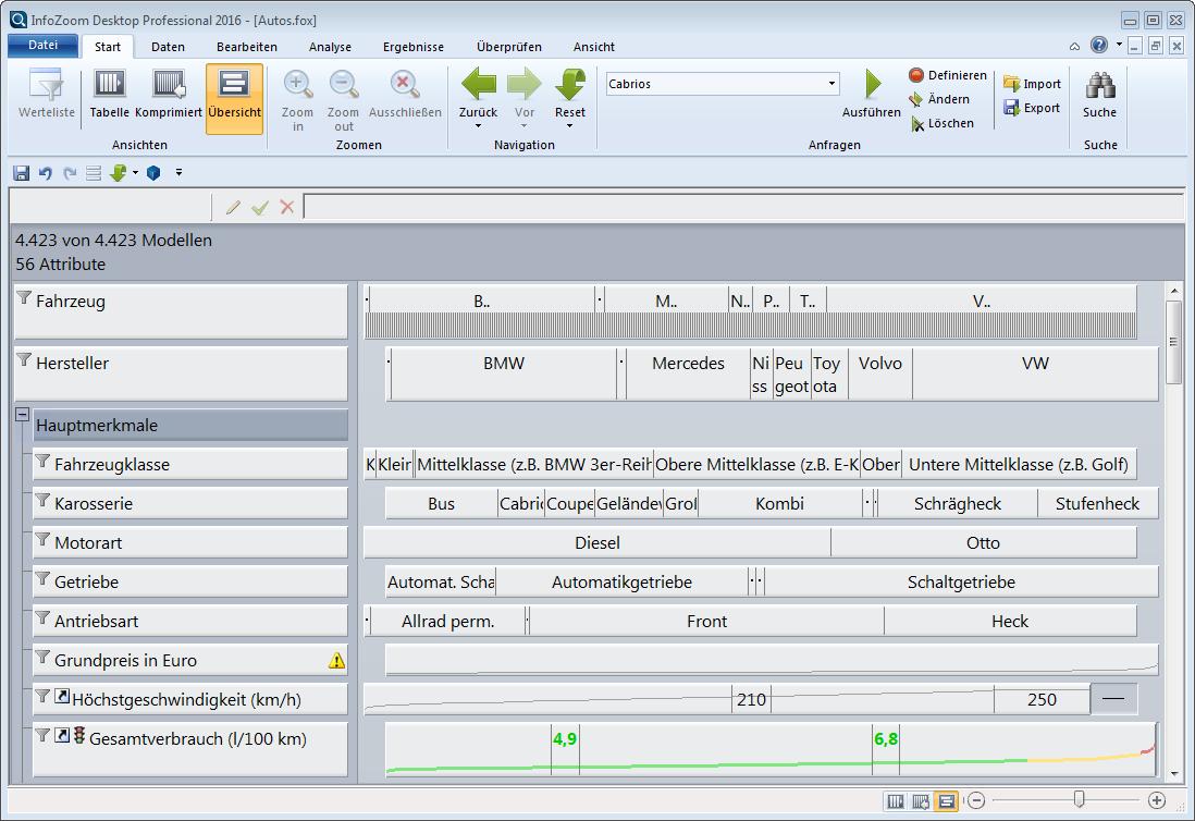 Datenanalyse Software InfoZoom Datenübersicht