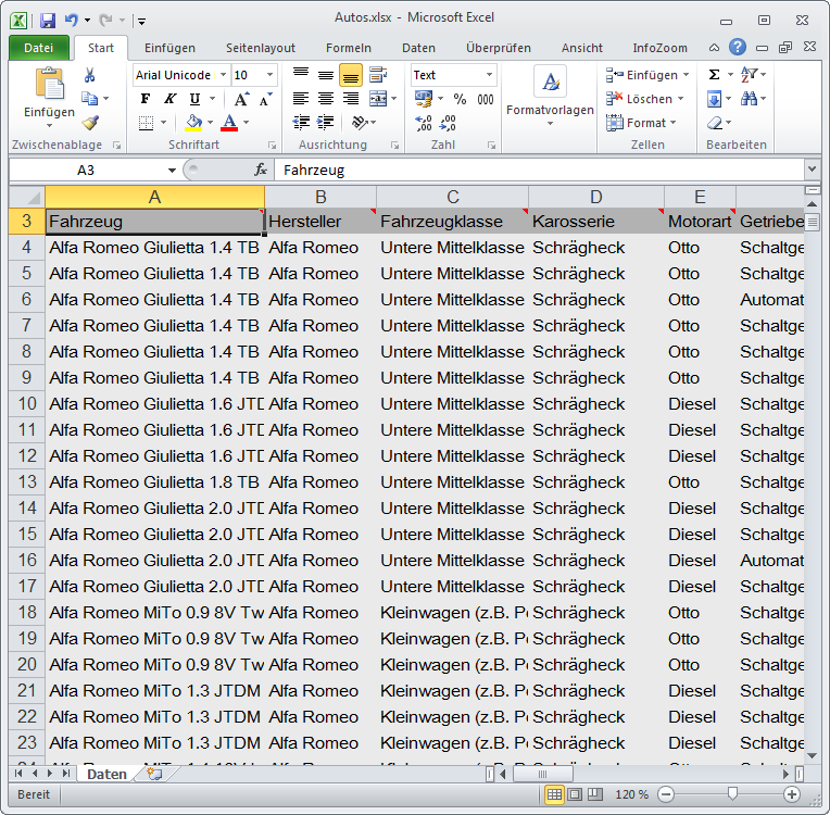 Excel Liste Software Datenanalyse