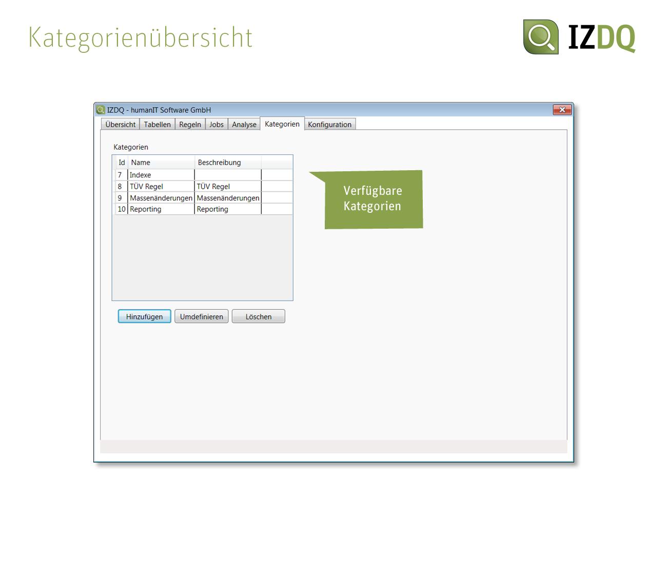 Screenshot IZDQ Kategorienübersicht
