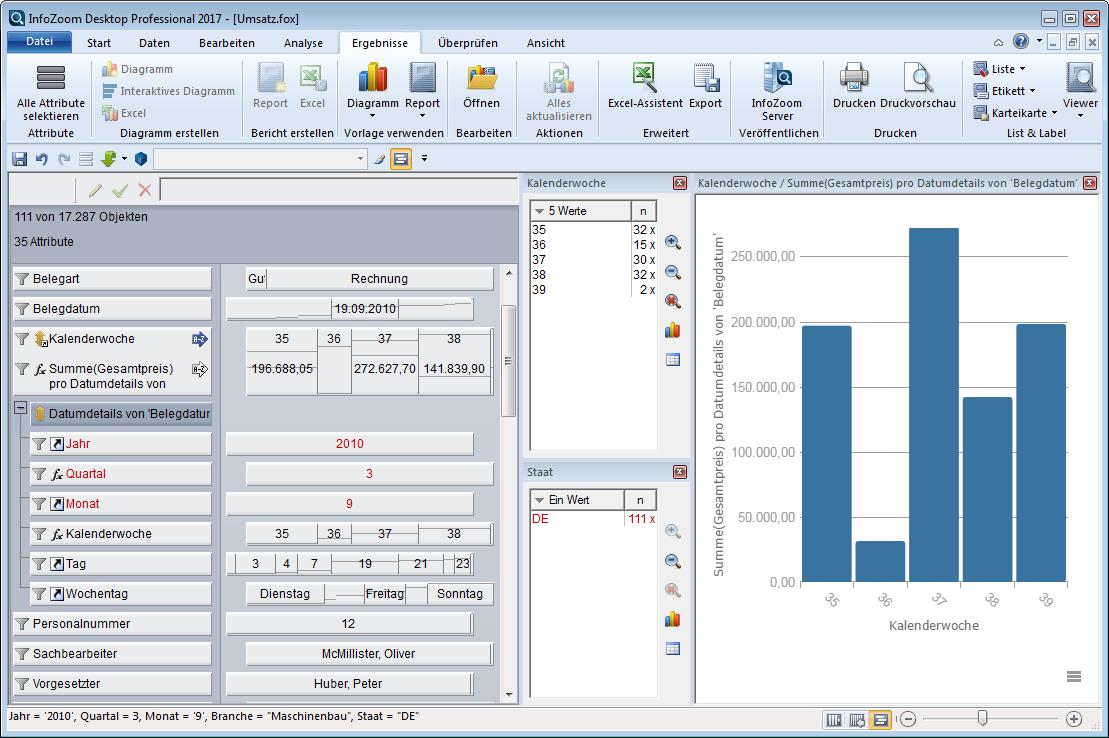 InfoZoom Screenshot Drilldown
