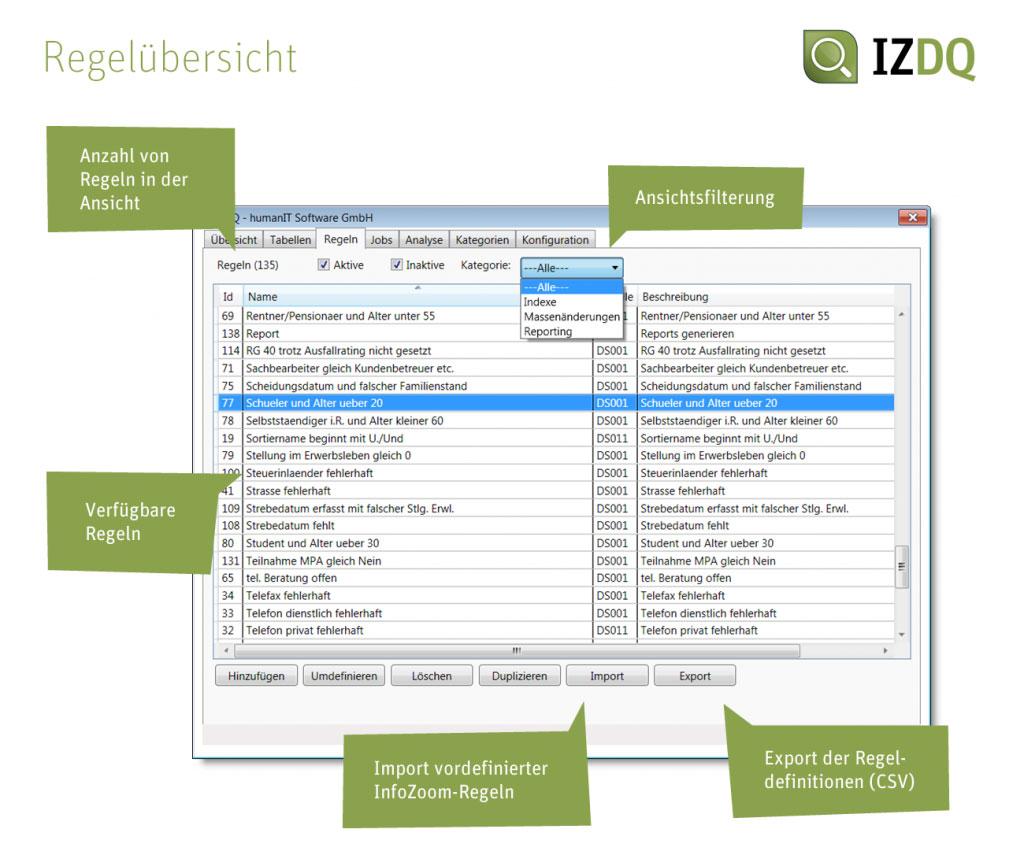 Screenshot IZDQ Regelübersicht