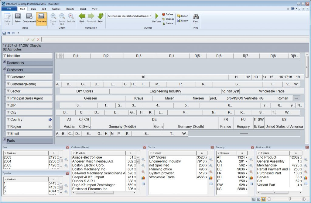 Products Data Analyses and Data Quality   InfoZoom Software