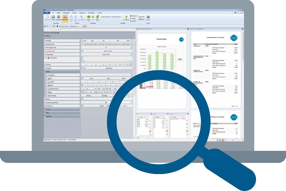 Bildschirm Ad hoc Datenanalyse